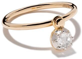 hum 18kt yellow gold hanging diamond ring