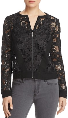 Three Dots Abstract Netted Lace Jacket $178 thestylecure.com