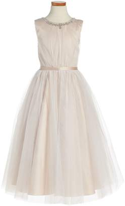 Joan Calabrese for Mon Cheri Sleeveless Tulle Dress