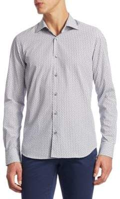 Saks Fifth Avenue COLLECTION Tile Printed Cotton Button-Down Shirt