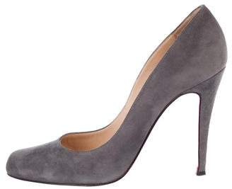 Christian Louboutin Suede Semi Pointed-Toe Pumps