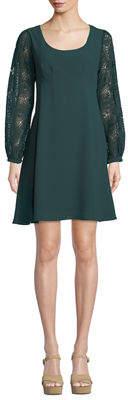 Nanette Lepore Nanette Pleated Lace-Sleeve A-line Dress