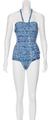 Herve Leger Textured One-Piece Swimsuit w/ Tags