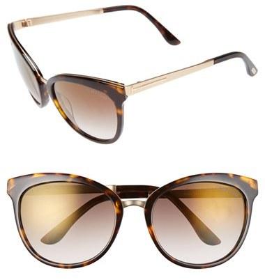 Women's Tom Ford 'Emma' 56Mm Retro Sunglasses - Dark Havana/ Brown Mirror