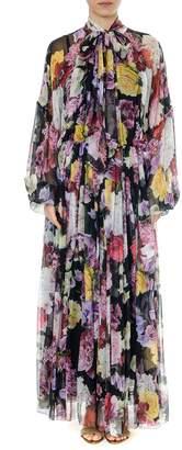 Dolce & Gabbana Multicolor Floral Print Silk Dress