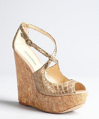 Alexandre Birman metallic gold snakeskin cork wedge peep toe sandals