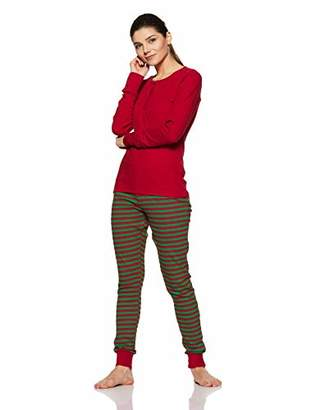 The Slumber Project Women's Cuffed Long Sleeve Tee and Jogger Pajams Set (Red/Green)