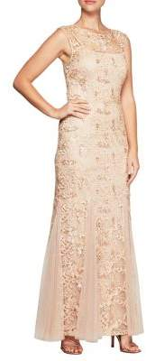 Alex Evenings Sleeveless Embroidered Column Gown