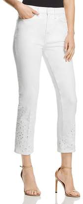 Tory Burch Keira Straight-Leg Jeans in White Rinse Wash
