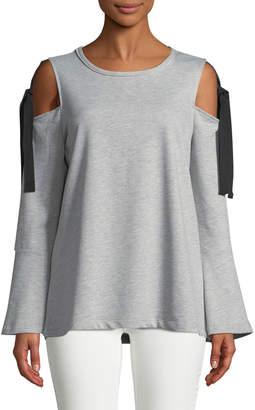 Neiman Marcus Self-Tie Cold-Shoulder Sweatshirt