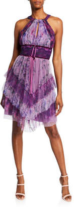 Marchesa Colorblocked Floral-Printed Tulle Dress with Ruffle Skirt Detailing