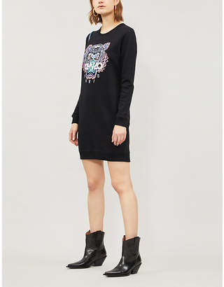 Kenzo Embroidered Tiger cotton-jersey sweatshirt dress