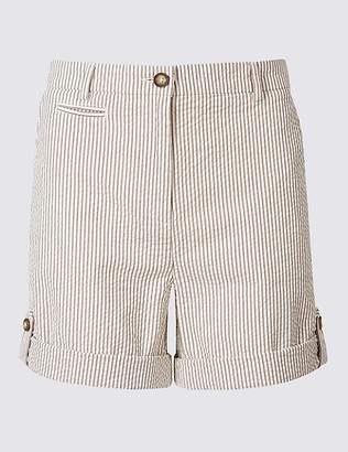 Marks and Spencer Pure Cotton Striped Casual Shorts