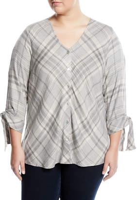 Bobeau Plus Kit Tie-Sleeve Plaid Flannel Blouse, Plus Size