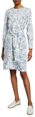Tory Burch Printed Button-Front Long-Sleeve Belted Cotton Shirtdress
