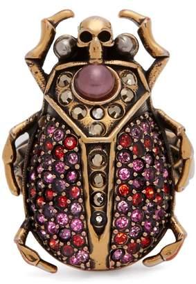 Alexander McQueen Scarab crystal pavé ring