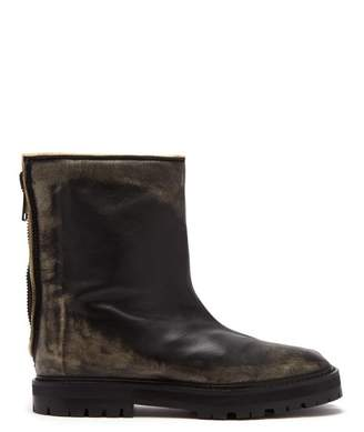 Maison Margiela Tabi Split Toe Distressed Leather Ankle Boots - Womens - Black