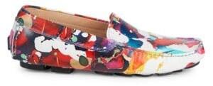 Robert Graham Gerard Splatter Print Leather Loafers
