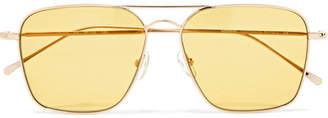 Illesteva Milos Aviator-style Gold-tone Sunglasses