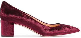 J.Crew - Avery Velvet Pumps - Burgundy $280 thestylecure.com