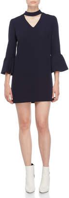 Atos Lombardini Mock Neck Bell Sleeve Mini Dress