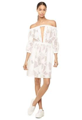 Milly Cabana Exclusive Cotton Eyelet Off Shoulder Dress
