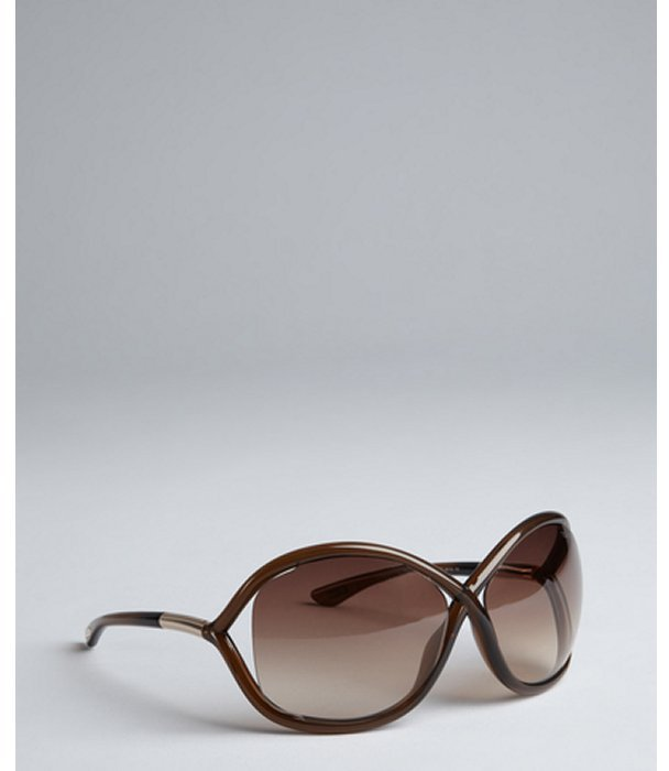 Tom Ford brown transparent twist detail 'Whitney' wrap sunglasses