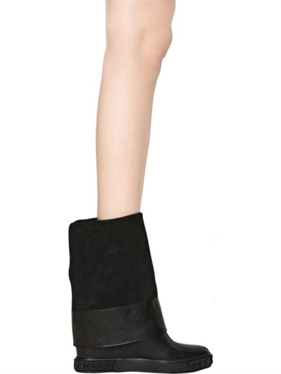 Casadei 90mm Suede Chained Wedged Boots