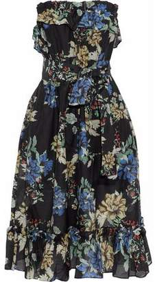 Nicholas Florian Strapless Floral-Print Cotton And Silk-Blend Dress