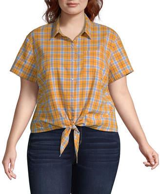 Arizona Short Sleeve Modern Fit Button-Front Shirt-Juniors Plus