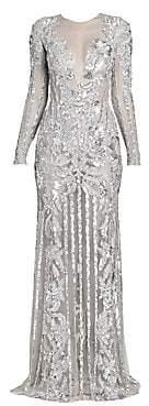 ZUHAIR MURAD Women's Oceania Sequin Sheer Gown
