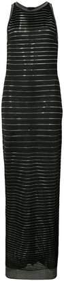 Balmain metallic stripe maxi dress
