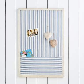 Pottery Barn Teen Wood Framed Pinboard With Pocket Blue Ticking Stripe