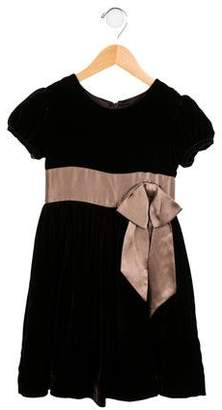 Rachel Riley Girls' Bow-Accented Velvet Dress