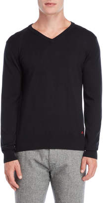 Peuterey Black Argyle Elbow Patch V-Neck Sweater