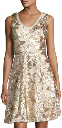 Marina Sequined Short A-Line Dress, Gold $149 thestylecure.com