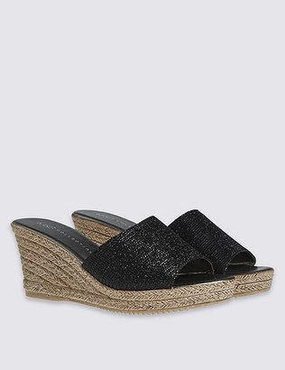 marks and spencer wedge heel glitter sandals shopstyle