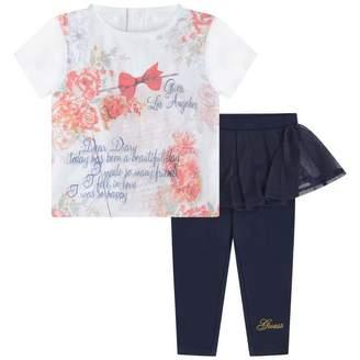 GUESS Girls Floral Top & Tulle Trim Leggings Set