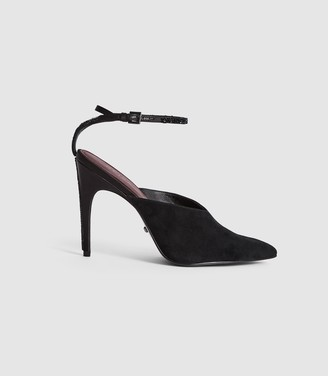 Reiss KIMBERLEY SUEDE MULES WITH ANKLE STRAP Black