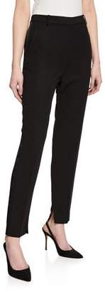 St. John Tuxedo Ankle Pants with Duchess Satin Side Panel