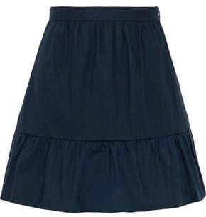 RED Valentino Gathered Stretch-Cotton Poplin Mini Skirt