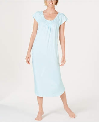 Miss Elaine Cottonessa Stripe-Print Knit Long Nightgown
