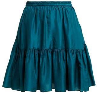 Loup Charmant - Pomona Ruffle Hem Silk Skirt - Womens - Dark Green