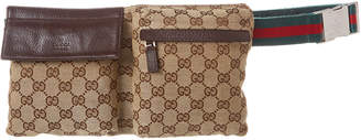 Gucci Brown Gg Canvas & Leather Waist Pouch