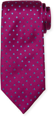 Charvet Off-Center Dotted Satin Tie
