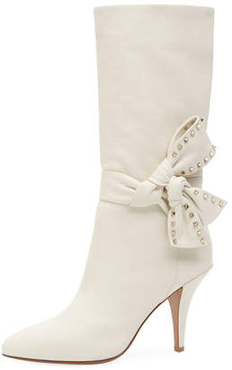 Valentino Mid-Calf Leather Bootie with Side Bow