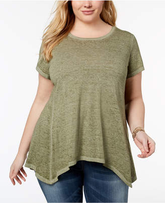 Style&Co. Style & Co Plus Size Burnout Handkerchief-Hem T-Shirt, Created for Macy's