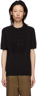 Neil Barrett Black Knit Rib Bib Henley