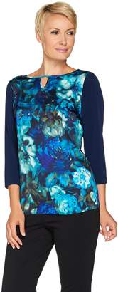 Susan Graver Woven Front 3/4 Sleeve Top w/ Liquid Knit Back