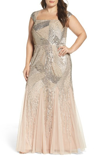 Adrianna Papell Plus Size Women's Adrianna Papell Embellished Gown